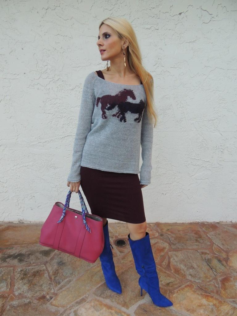 Free People Sweater, Victoria's Secret Tank Dress, Nine West Boots, Earrings Doolittle Jewelry, Hermes Garden Party Tote