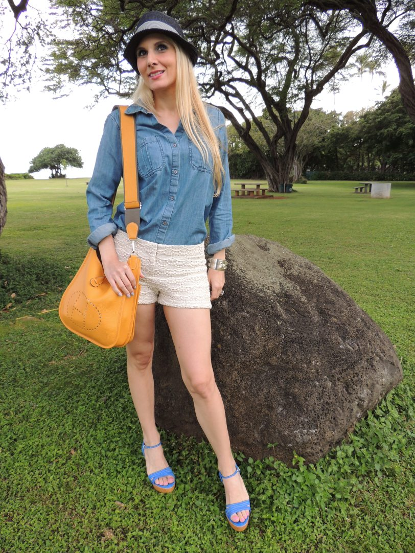 Express Lace Shorts, Express Denim Shirt, J.Crew Wedges, Hermes Sterling Silver CDC Bracelet, Slane & Slane, Blue Topaz Fenestra Earrings, Banana Republic Hat, Essie Nailpolish is Liliacism, Revlon Neon Nail Polish Atomic Pink, Hermes Evelyne Bag