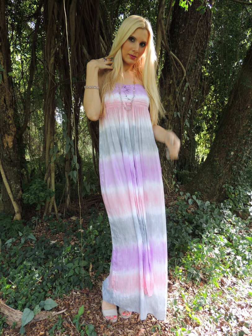 Tiare Hawaii Maxi Dress, Jane taylor Stacking Rings, Debra Mack Lavender Amethyst Necklace, Debra Mack Lavender Amethyst Bracelet, Nine West Shoes Make-up: MAC Beautiful Iris Eyeshadow, MAC Parfait Amour Eyeshadow, MAC Va-Va-Veronica Blush, MAC New York Apple Lipstick, Essie In The Cab-ana Nailpoilish
