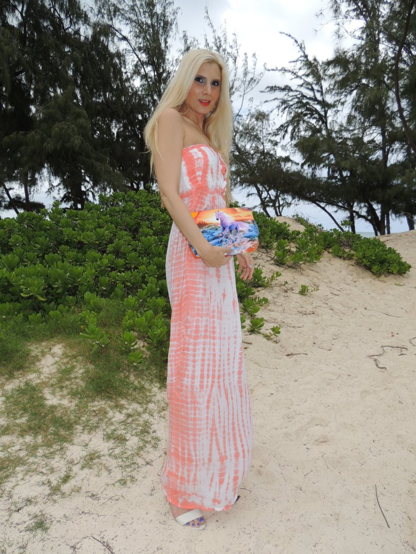 Ava Sky Dress, Clutch Cory LaBang, Lanai'i City, Tiffany Chou Sharks Tooth Ring and Necklace, Sunrise Shell Earrings Surfer Girl Jewelry, Michael Kors Runway Watch Make-up: Revlon Siren Lipstick, MAC Divine Blue and Love Cycle Eyeshadow